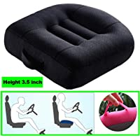 WSGJHB Car Booster Seat Cushion Heightening Height Boost Mat, Breathable Mesh Portable Car Seat Pad Angle Lift Seat Cushions Ideal for Car Office,Home, Used All The Year,Black,40x40x9cm