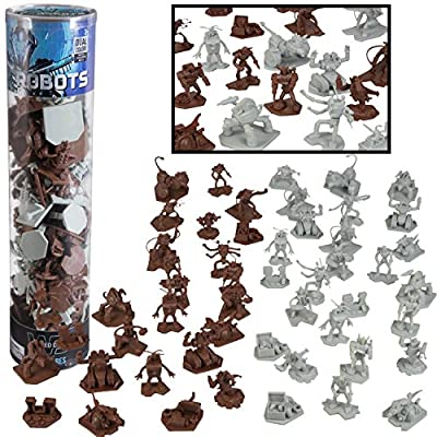 Robot Action Figure Bucket - 52 Ready for Battle Toy Figures - With 14 Unique Characters - Great for party favors, decorations and theme parties
