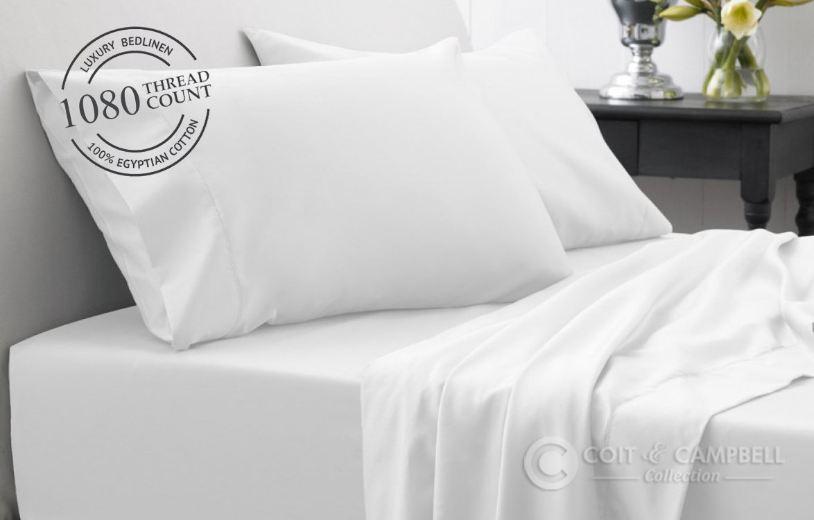Coit & Campbell Premium Hotel Collection Solid 1080 Thread Count Deep Pocket 100% Egyptian Cotton Sateen Sheet Set (White, King Size)