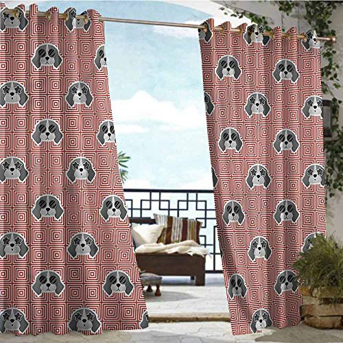 crabee Indoor/Outdoor Single Panel Print Window Curtain Dog,Beagle Puppy Squares,W84 xL108 for Front Porch Covered Patio Gazebo Dock Beach Home