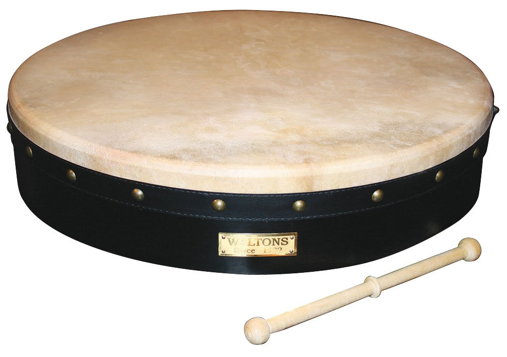 Waltons Bodhrán 18'' (Tunable Black) - Handcrafted Irish Instrument - Crisp & Musical Tone - Hardwood Beater Included w/ Purchase