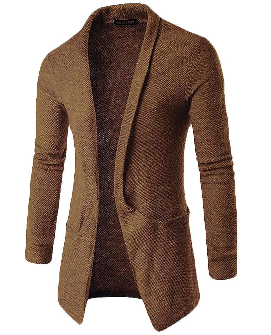 BU2H Men Slim Fit Long Sleeve Solid Open Front Pockets Knit Sweater Cardigan
