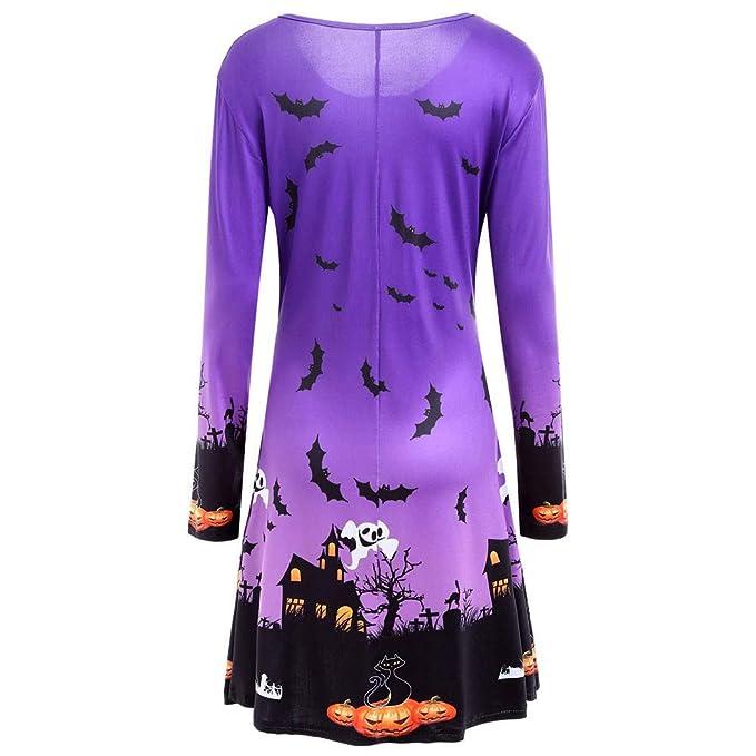 Yvelands Camisas de Halloween para Mujeres, Vestidos de Mujer Vestidos de Fiesta de Noche Falda de Vestido de Swing, Ofertas de liquidación!: