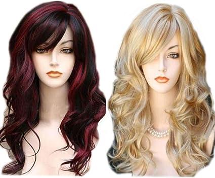 Peluca de Halloween Peinado Degradado Rojo Negro Peluca ...