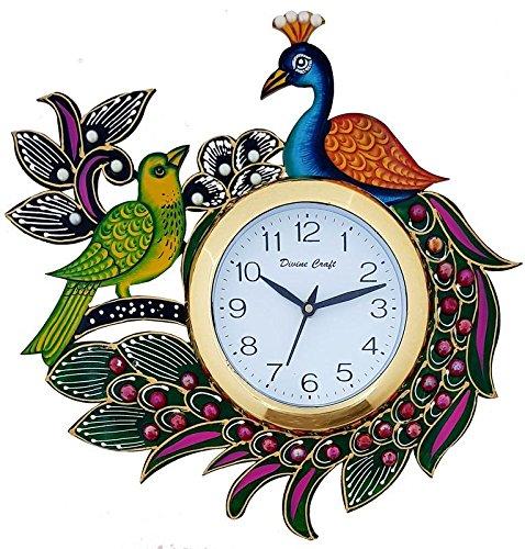 DivineCraft Wood Kundan Meenakari Peacock Wall Clock  Multicolour