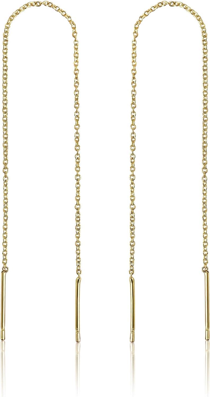 14k Gold Chain Earrings for Women | Gold Threader Earrings for Women | Gold Dangle Earrings for Women | Dangly Earrings | Long Earrings for Women | Gold Drop Earrings for Women | Celebrity Endorsed