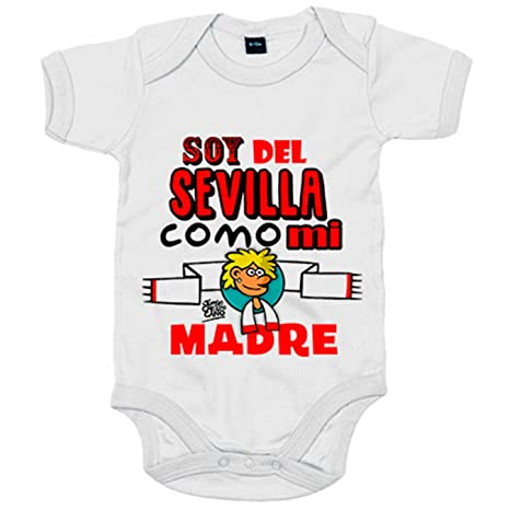 Body bebé soy del Sevilla como mi madre Jorge Crespo Cano - Blanco, 6-