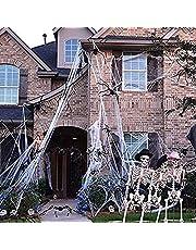Hrpa 300 g spinnnät dekoration, stretchig, 100 stycken spindlar, tillräckligt för 1 000 fyrkantiga fötter, läskiga dekorationer för halloweenfester