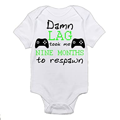 7a7eeb18 Born Gamer Geeky Damn Lag Took me 9 Months to Respawn Baby Bodysuit Onesie  Brand Super