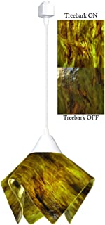 product image for Jezebel Signature Flame Track Lighting Pendant Small. Hardware: White. Glass: Treebark