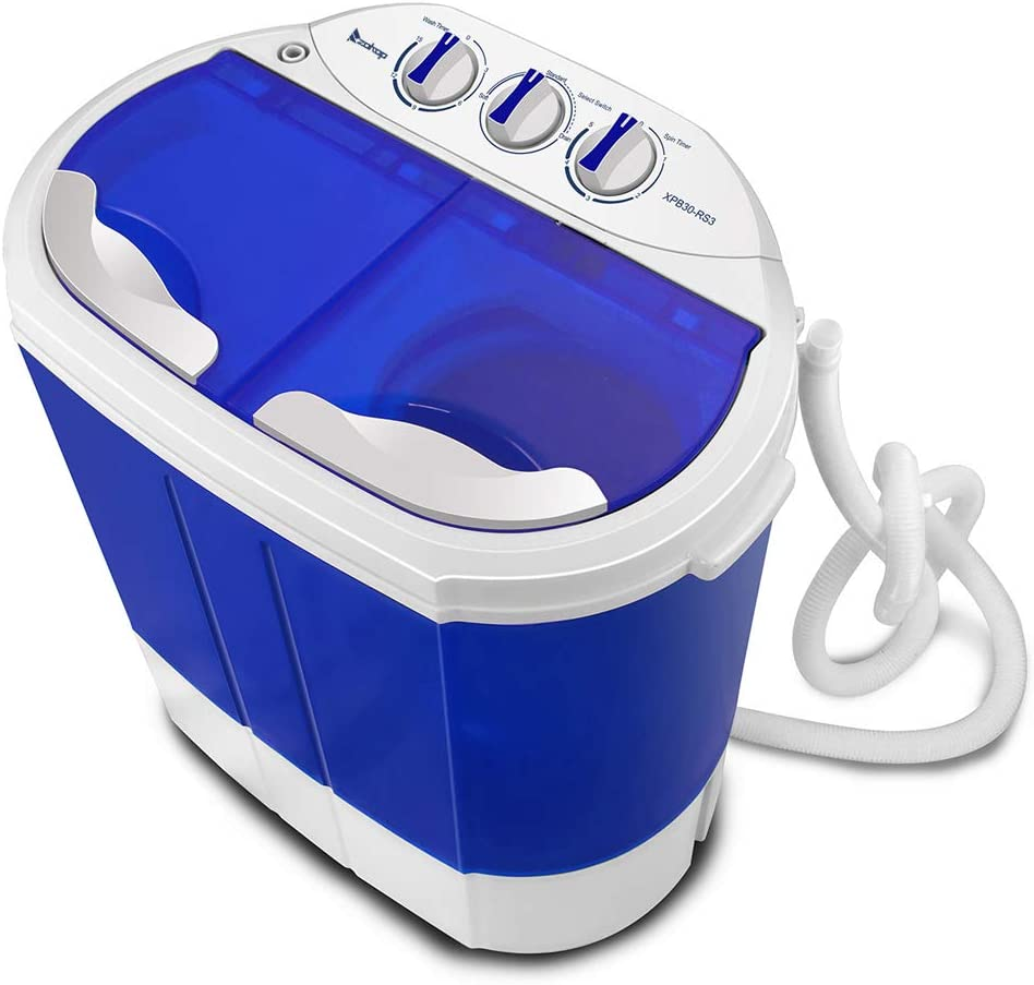 Small Semi-Automatic Compact Washing Machine Portable Washer for Compact Laundry 10.4LBS Portable Washing Machine with Twin Tub Electric Compact Mini Washer,Mini Washing Machine