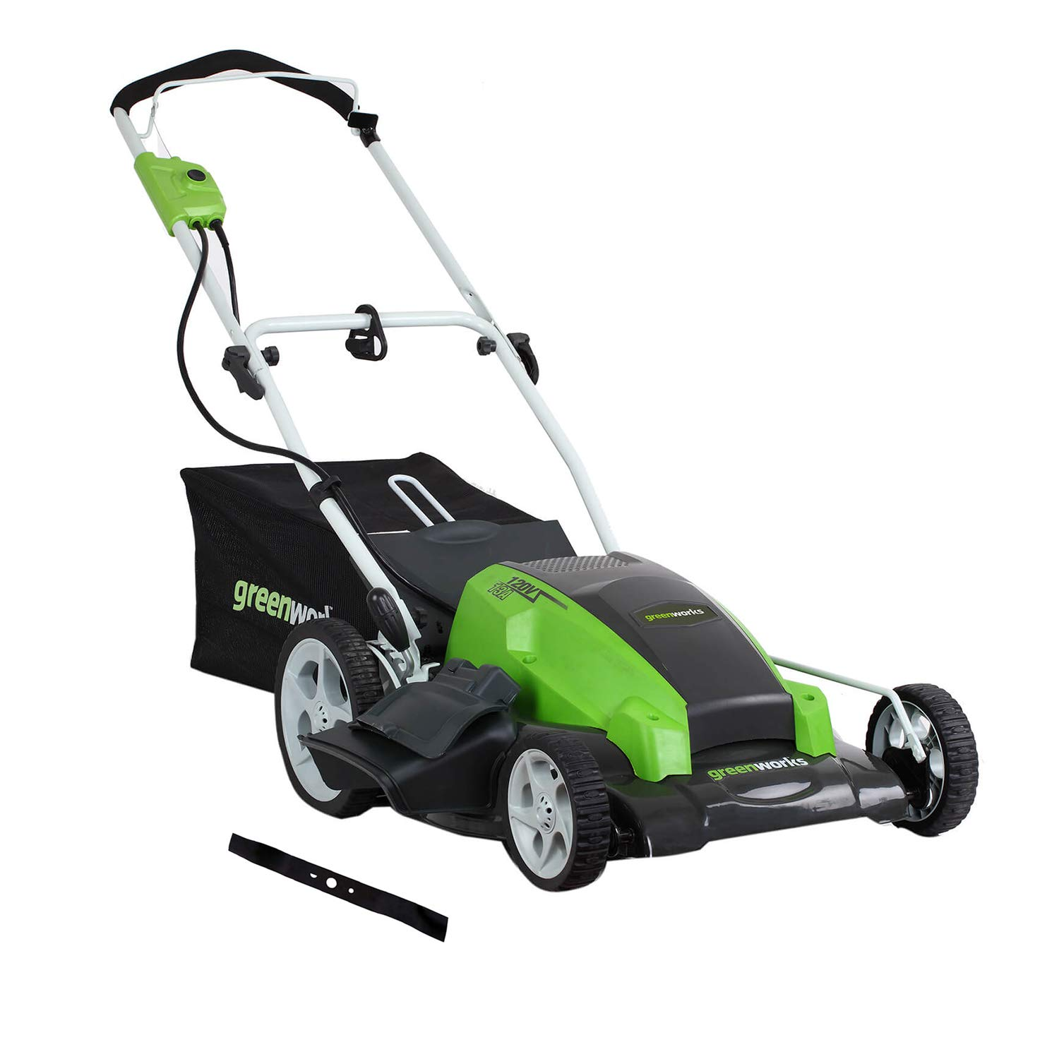 Greenworks 21-Inch 13 Amp Corded Electric Lawn Mower with Extra Blade 25112
