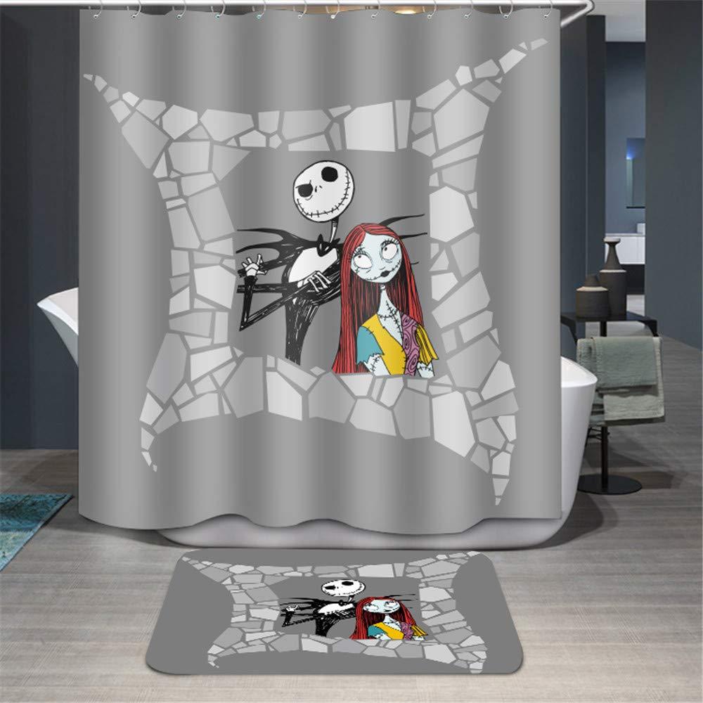 Youni Jack Skellington Shower CurtainDisney Nightmare Before Christmas Cartoon Curtain Set 2piece Inclued RugBathroom Decor Machine Washable