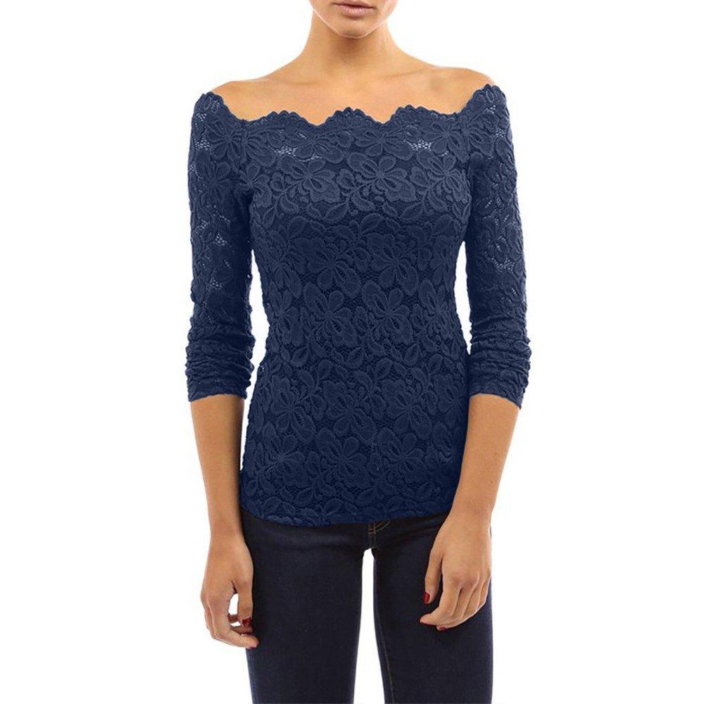 Ulanda-EU Damen Floraler Spitze Langarmshirt Bluse Geblümte Schulterfreie Slim Fit Elegant Spitzenshirt Tops Shirt T-Shirt Tunika Hemd Oberteile Pullover Sale für Teenager Mädchen