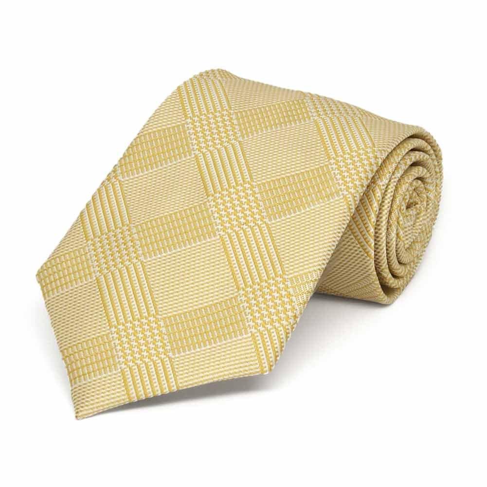 TieMart Boys Sunflower Yellow Michael Glen Plaid Necktie