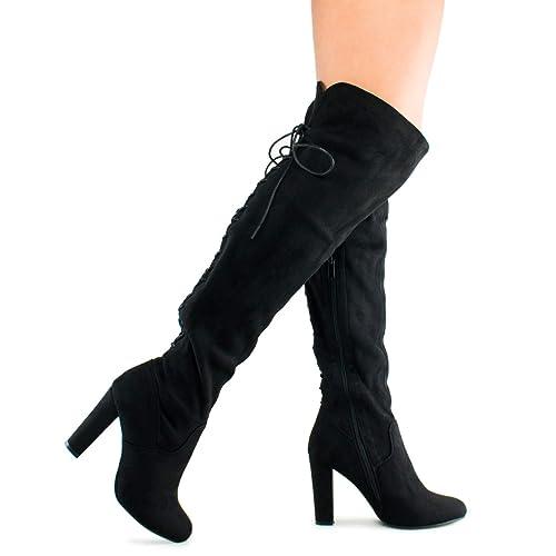 Premier Standard Women's Thigh High Stretch Boot - Trendy High Heel Shoe - Sexy Over The Knee Pullon Boot - Comfortable Easy Heel, TPS Booties-22Aloz Black Size 5.5