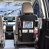 OMORC Universal asiento trasero coche bolsa de almacenamiento organizadores Multipurpose uso Piel Sintética Kick Mat impermeable Asiento Protector De Espalda (1)