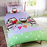 Childrens Girls Sleeping Owls Design Single Duvet/Bedding Set (Twin) (Multicolored)
