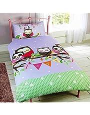 Childrens Girls Sleeping Owls Design Single/Twin Duvet/Bedding Set (Twin) (Multicolored)