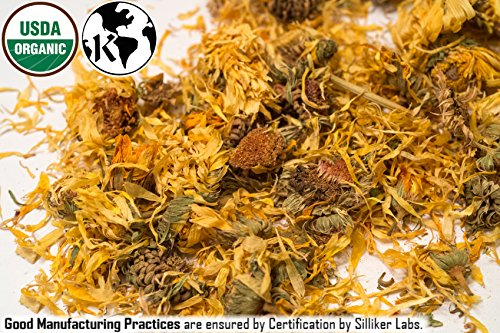 ORGANIC WHOLE CALENDULA FLOWERS 4 OZ Bag (Marigold) – USDA CERTIFIED 100% ORGANIC and KOSHER – Herbal Tea (Calendula Officinalis), Caffeine Free Irradiation Free Bulk Bag