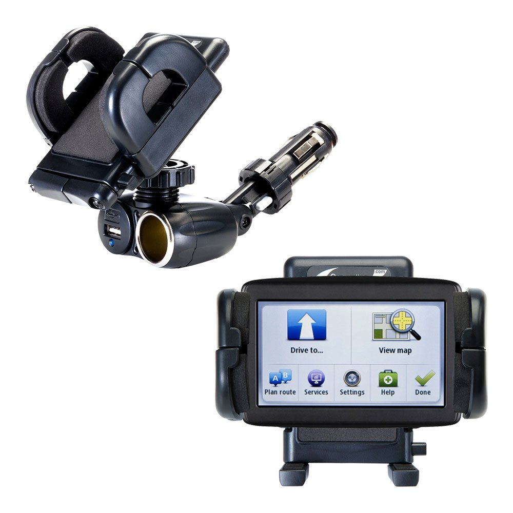 Dual USB / 12V Charger Car Cigarette Lighter Mount and Holder for the TomTom VIA 1500 by Gomadic