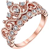 Guliette Verona Sterling Silver Princess Crown Ring (Rose Gold Plated) (8)