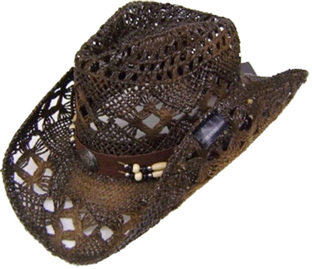 Modestone Unisex Straw Cowboy Hat Brown 8089-Size-X-Large