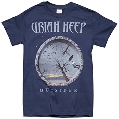 79bd33c2daa Amazon.com  Rock   Roll T Shirts Uriah Heep Dusk Blue Outsider Album Men s  Tee  Clothing