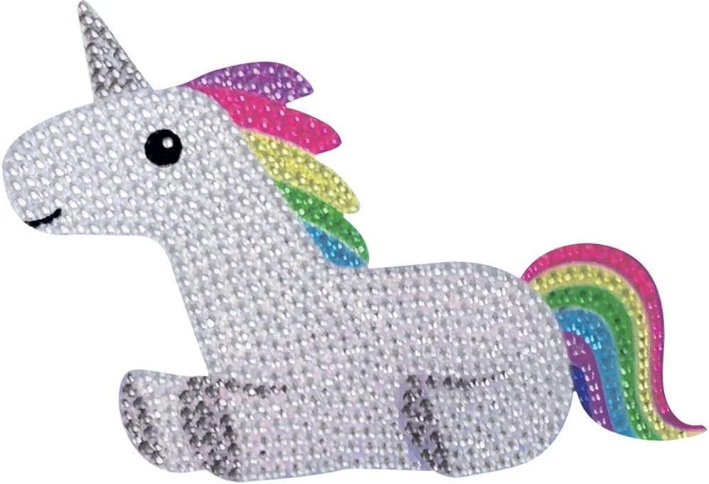 "iscream Sparkly Rhinestone Good Vibes! Rainbow Unicorn 2"" Mini Vinyl Cling Decal"