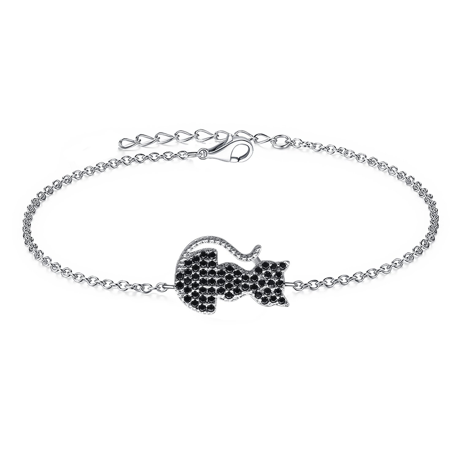 AoedeJ Cute Cat Kitty 925 Sterling Silver Chain Bracelets Black Cubic Zirconia Charm Bracelets for Girl Women