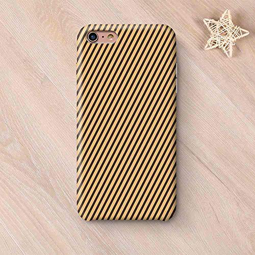 Vintage Wear Resisting Compatible with iPhone Case,Brown Toned Diagonal Lines Stripes Modern Geometrical Image Art Print Decorative Compatible with iPhone 7/8,iPhone 6 Plus / 6s ()