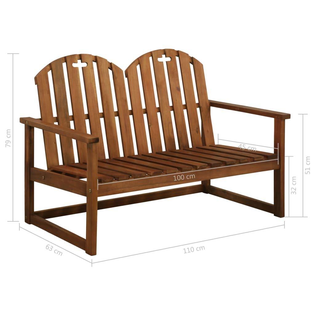 Festnight 2-Seater Garden Bench Outdoor Teak Classic Park Bench Solid Acacia Wood