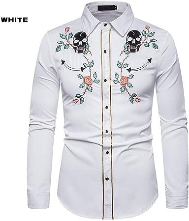 Chengzuoqing Camisas Casuales para Hombres Camisa Bordada Manera 1Pcs Estilo Americano Occidental Camisa de la Cabeza del cráneo de Rose de Manga Larga Bordado Camisa de los Hombres para Luna de Miel: