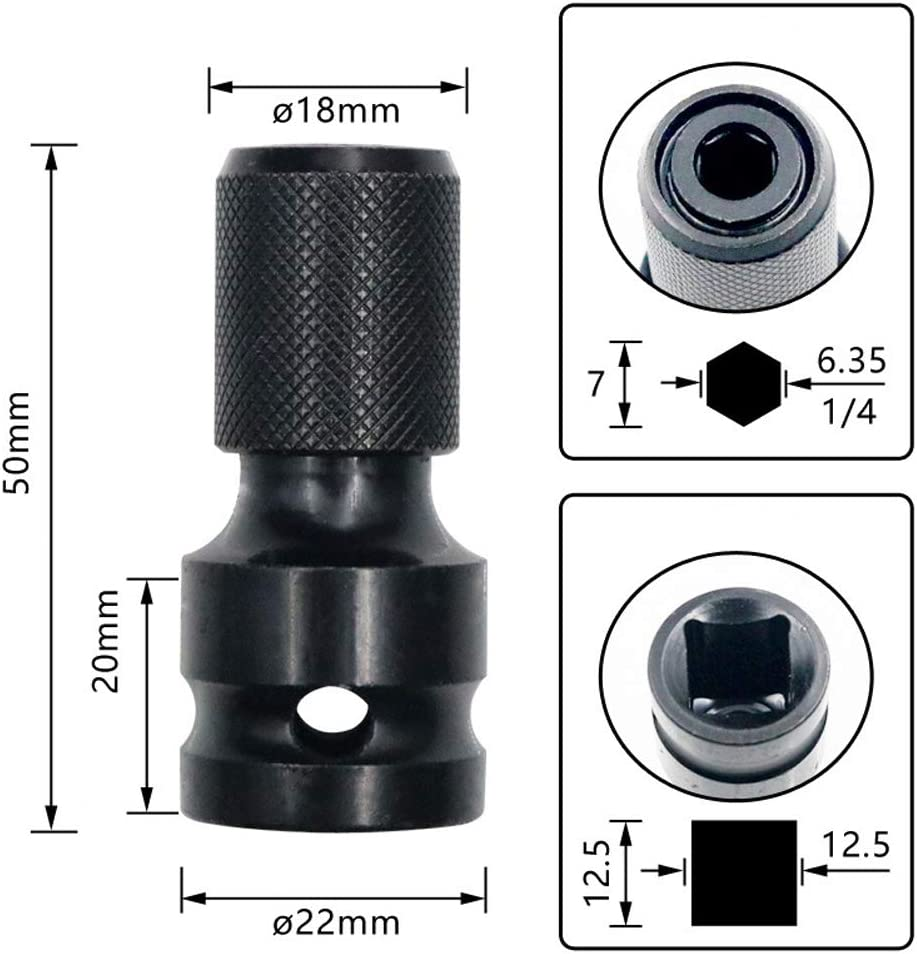 CviAn 1//2 Square to 1//4 Hex Shank Socket Adapter Quick Release Chuck Converter for Impact and Ratchet Wrench Drill Chuck Conversion Tool