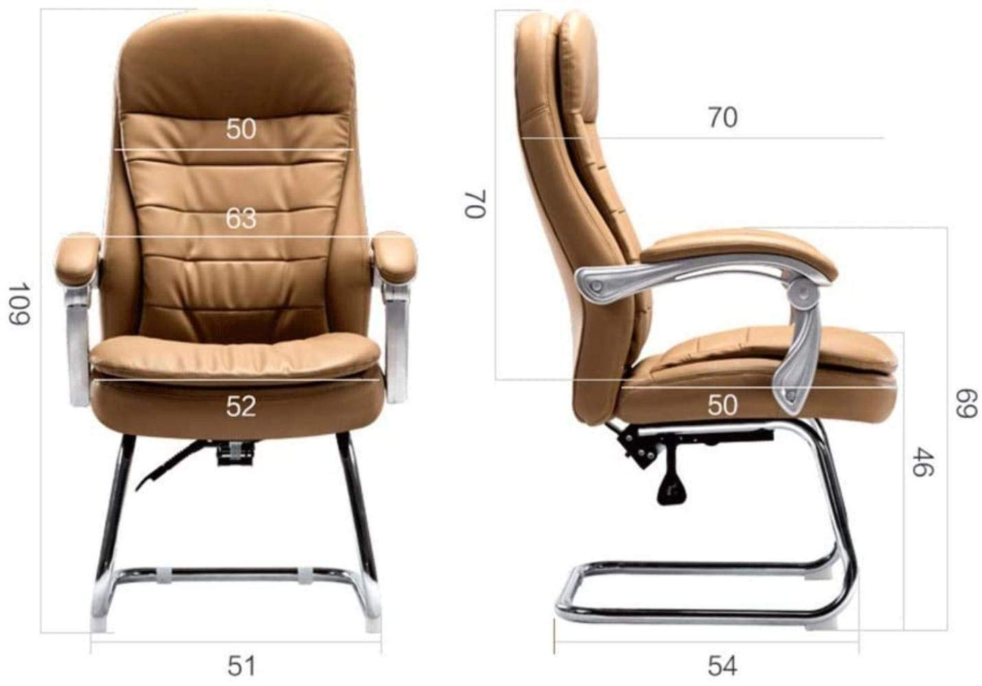 Skrivbordsstolar, kontorsstol skrivbordsstol ergonomisk datorstol ländryggsstöd armar huvudstöd verkställande stol fåtölj (färg: Brun) Svart