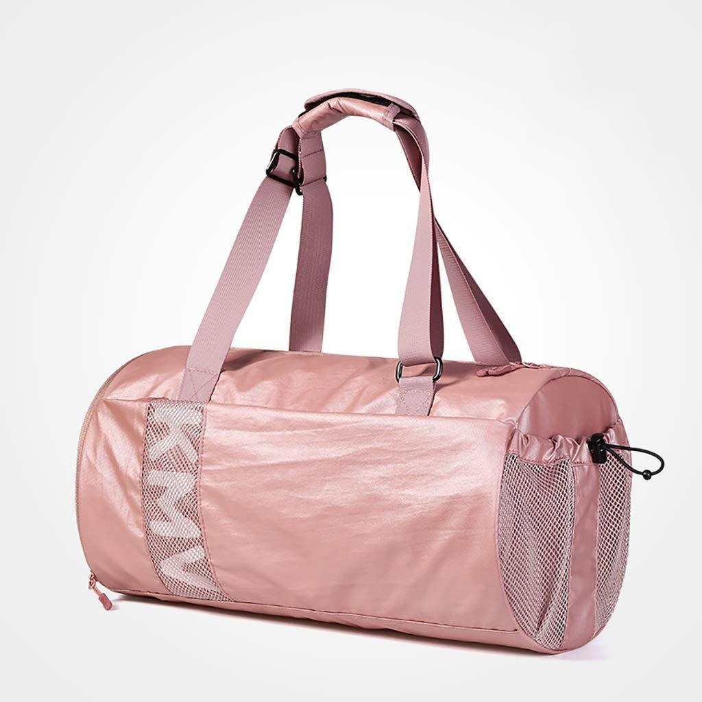 フィットネスバッグ黒人女性用フィットネスバッグ 婦人用バッグフィットネススポーツバッグウェットとドライのセパレーションバッグライト短距離トラベルバッグナイロン素材、レース位置ブラック/ピンク2色オプション フィットネスバッグ黒人女性用フィットネスバッグ (色 : ピンク)  ピンク B07RHFJ4DT