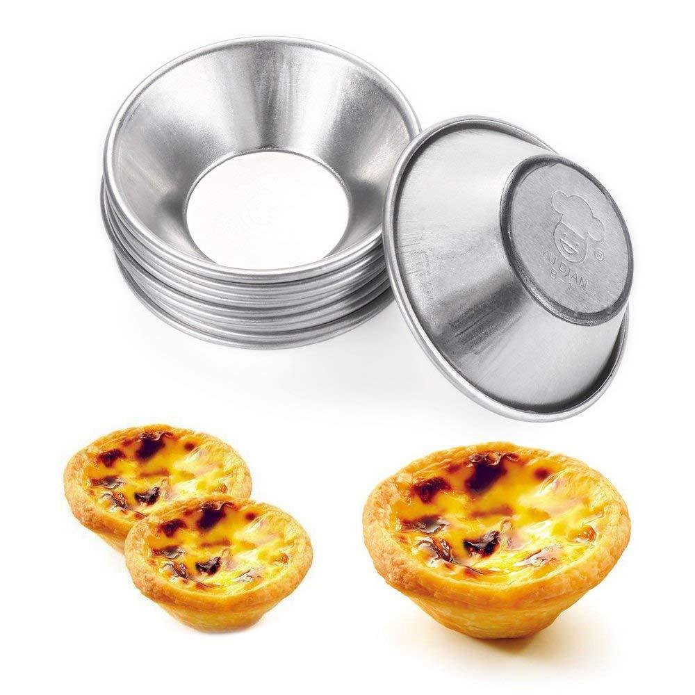 MBODM 50 Pack Egg Tart Molds Mould Mini Tiny Pie Muffin Cupcake Pans Tin Egg Tart Mold Bakeware Chocolate Molds Tin Baking Tool Baking Cups