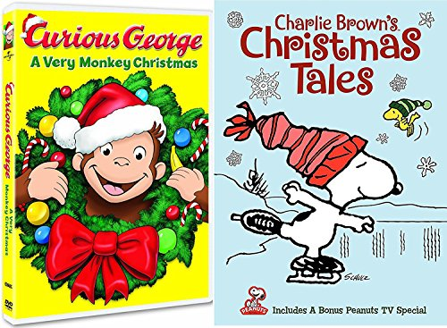 Curious George: A Very Monkey Christmas & Charlie Brown's Christmas Tales Peanuts Tales DVD Holiday Cartoon Classics (Cartoons Rated G Christmas)