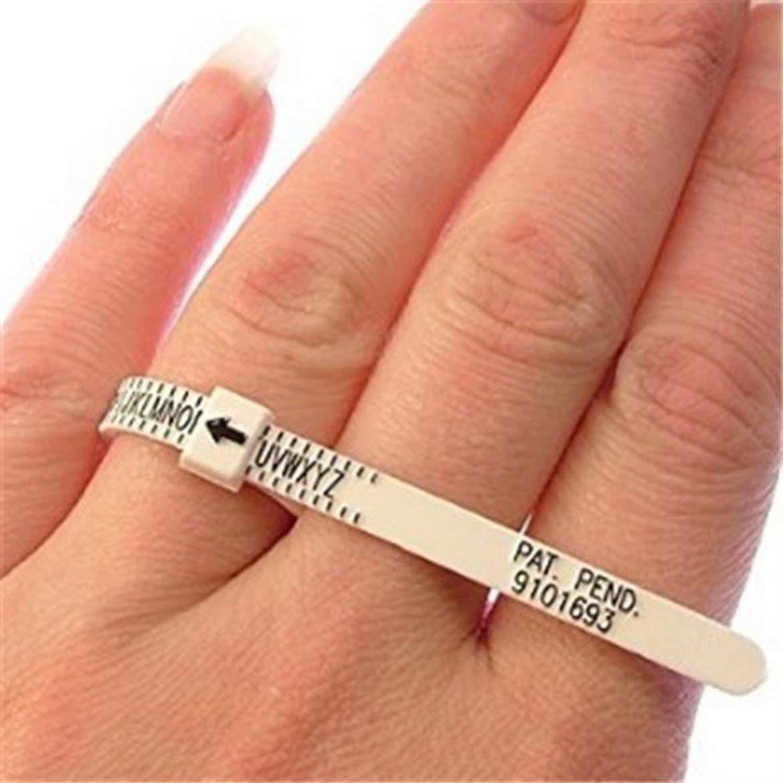 Portable Taille ROYAUME-UNI NOUS Anneau Sizer Mesure Doigt Jauge Pour La Bague De Mariage Bande Véritable Testeur Outil De Mesure - blanc