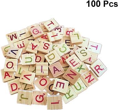 TOYANDONA Scrabble Azulejos Letras de Madera Azulejos Crucigrama Madera Alfabeto Juguete para Manualidades DIY Ortografía Juguete Educativo Niños Niño Pequeño 100 Piezas Colorido: Amazon.es: Juguetes y juegos