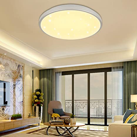 Lámpara LED de techo Vingo, 12 W, blanco cálido, cielo estrellado, para salón, baño, cocina, iluminación interior, lámpara de pared, salón, cuarto de ...