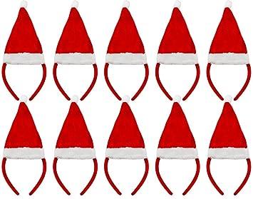 6 X MINI SANTA HAT ON HEADBAND FATHER CHRISTMAS FANCY DRESS XMAS OFFICE PARTY