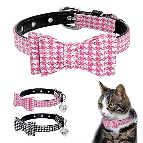 Heart Id Tag Necklace (Didog Christmas Pretty Puppy Kitten Collar Houndstooth Bowtie with Rinestone Studded Heart shaped ID Tag,Bowknot Cute Necklace for Small Dogs and Cats)