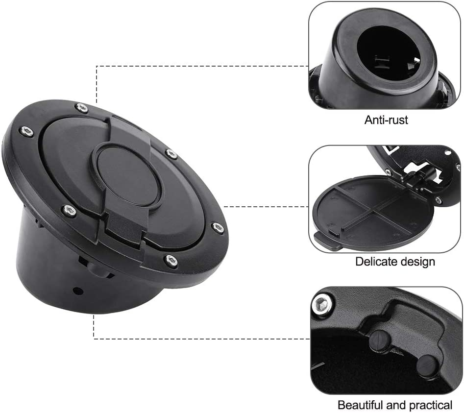 Cuque Car Fuel Cap Aluminum Alloy ABS Fuel Tank Cap Tank Cap Cover for Jeep Wrangler 2 Door /& 4 Door 2007 2008 2009 2010 2011 2012 2013 2014 2015 2016