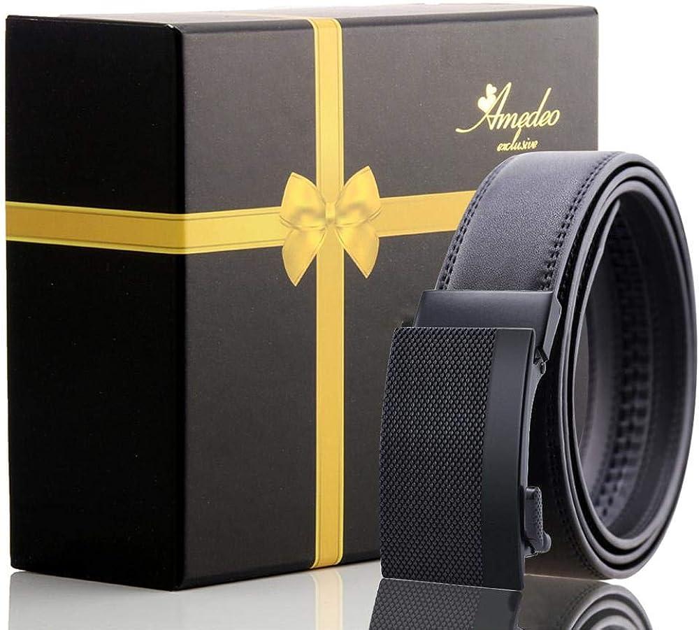 Mens Black Buckle Black Leather Belt automatic belt no holes needed size 26-52 turkey made perfect size belt