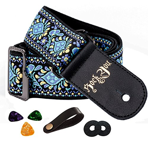 Guitar Strap Vintage Woven Style Acoustic Electric Guitar Strap Bass Guitar Strap with Leather Ends Picks Bundle Button