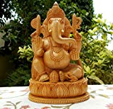 CraftVatika Wooden Ganesh Statue - Hand Carved Sitting on Lotus- Hindu Elephant Lord Ganesha Wood Sculpture - God of Prosperity and Fortune Ganpati Vinayak India Hindu Deity God Figurine