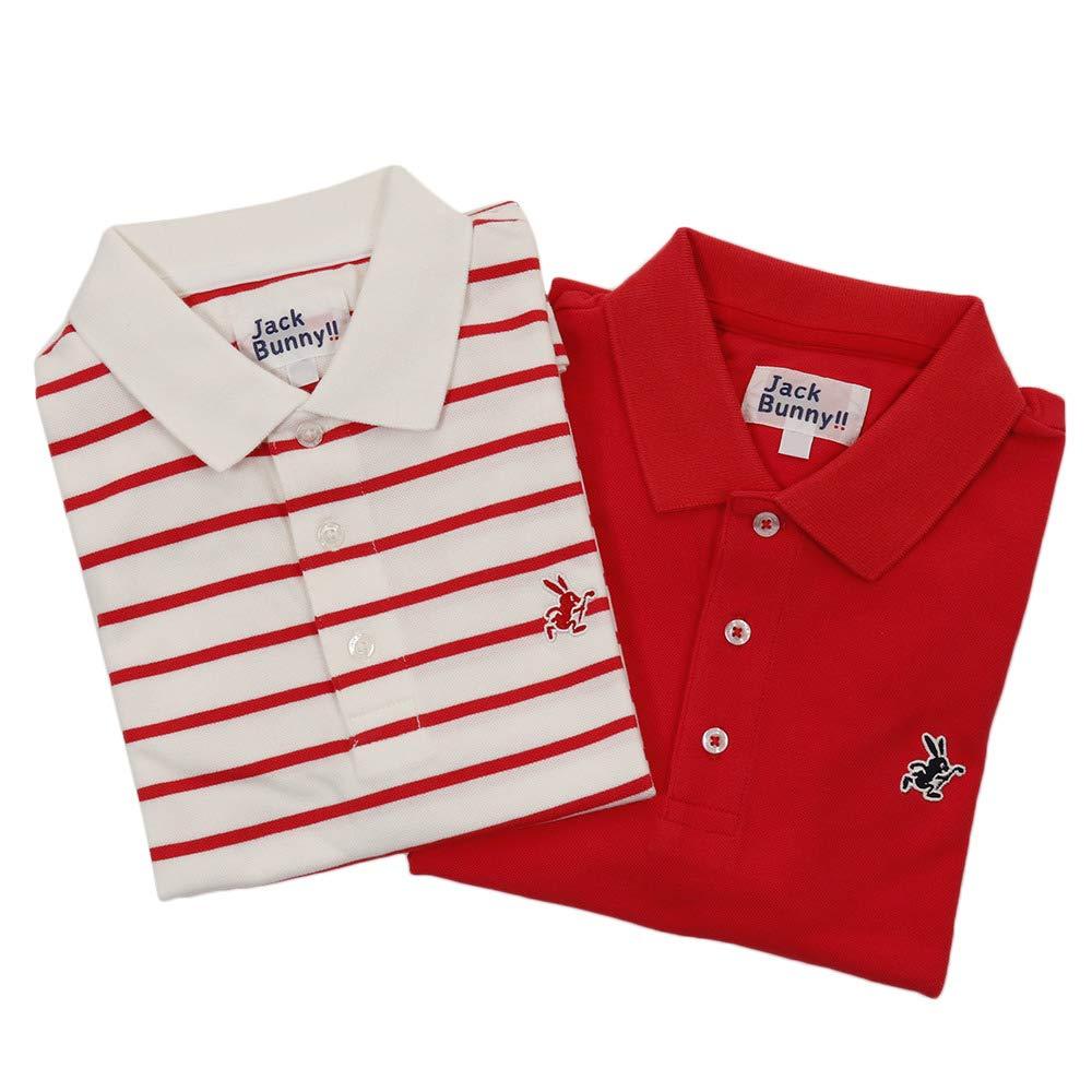 ジャックバニー(ジャックバニー) ベア鹿の子 2枚セット 半袖ポロシャツ 264-9960231-100 150 レッド B07Q82DZN8