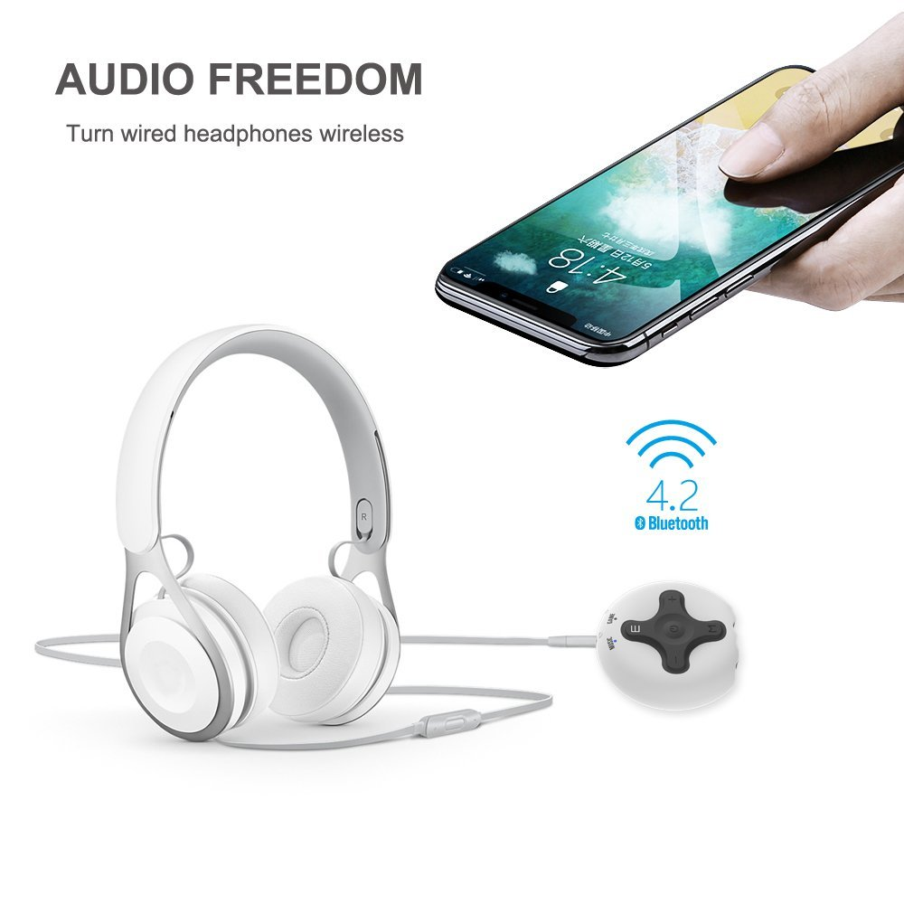 ABRAMTEK Bluetooth Receiver V4.2 Portable Wireless Audio Adapter Enhancer Headphone Amplifier Hands-Free Calling 3.5mm Stereo Jack Home Car Audio System by ABRAMTEK (Image #2)