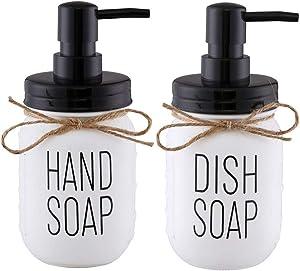 Elwiya Mason Jar Hand Soap Dispenser and Dish Soap Dispenser Set - 16 Ounce Glass Mason Jar with Plastic Pump and Lid - Rust Proof - Rustic Bathroom Accessories &Kitchen Home Decor - 2 Pack